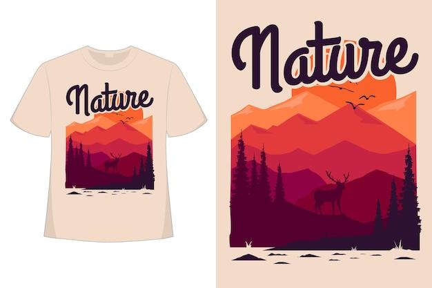 Disegno della maglietta dell'illustrazione dell'annata di stile disegnato a mano di estate del pino mugo della natura
