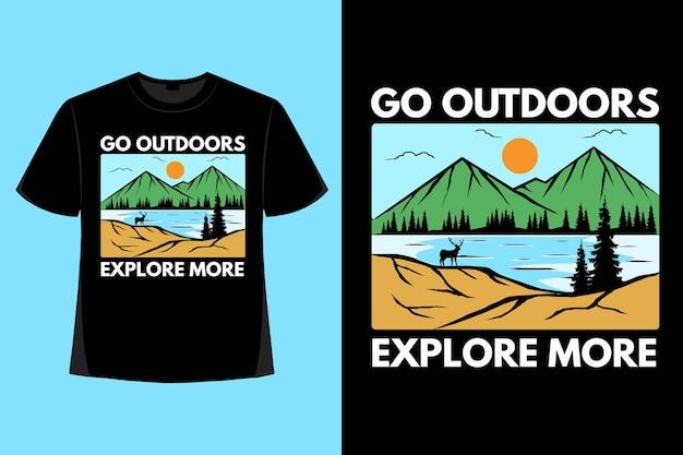 Il design della maglietta della natura all'aperto esplora più illustrazioni vintage disegnate a mano