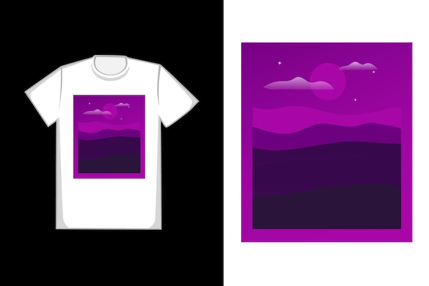 T-shirt design notte in montagna colore viola e nero