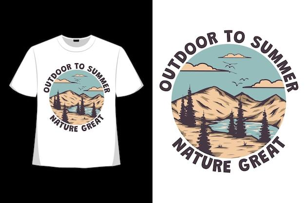 T-shirt design di natura estiva all'aperto grande lago di montagna disegnato a mano in stile retrò