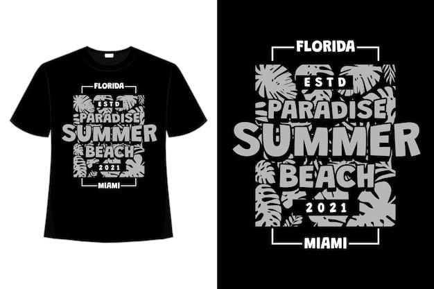 T-shirt design di paradise summer beach miami florida leaf in stile retrò