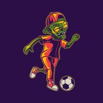 Disegno della maglietta che gioca a palla in una posizione di dribbling illustrazione di zombi