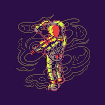 T shirt design vista laterale di un astronauta che suona il violino illustrazione