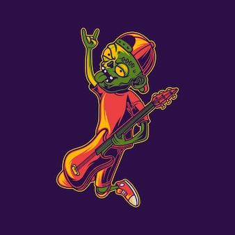 Vista laterale del design della maglietta degli zombi che suonano la chitarra rock con l'illustrazione delle mani in alto