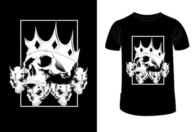 T-shirt design corona teschio e illustrazione vettoriale di tre demoni