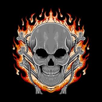 T shirt design teschio in fiamme illustrazione poster design halloween