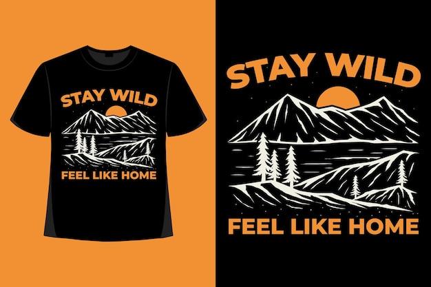 T-shirt design dell'illustrazione vintage disegnata a mano della spazzola di montagna selvaggia di soggiorno