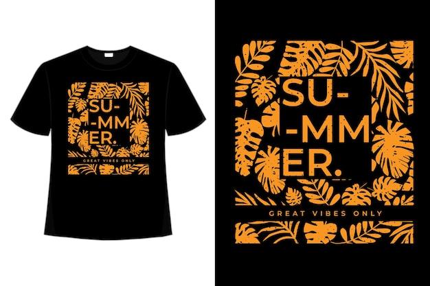 Disegno della maglietta dell'illustrazione dell'annata di stile di tipografia tropicale della foglia di estate