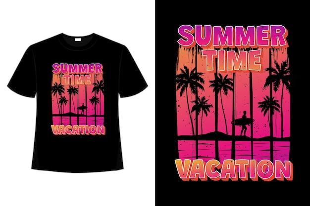 T-shirt design di vacanze estive surf gradiente tramonto vintage in stile retrò
