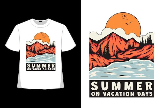 T-shirt design di giorni di vacanza estiva lago di montagna disegnato a mano in stile retrò