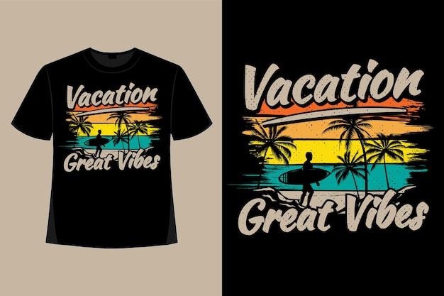 T-shirt design di vacanza grandi vibrazioni surf pennello stile retrò illustrazione vintage