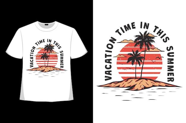T-shirt design di vacanze estive isola disegnata a mano in stile retrò