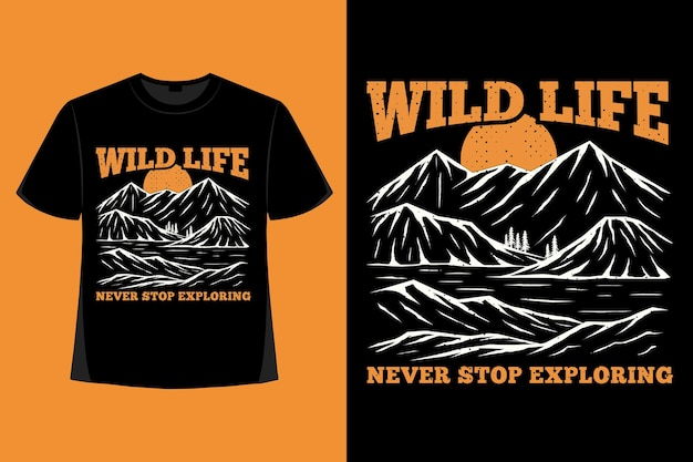 T-shirt design della vita selvaggia che esplora l'illustrazione vintage disegnata a mano di montagna