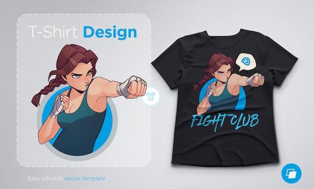 T-shirt design con ragazza di boxe arrabbiata con bende da boxe. illustrazione vettoriale di stile anime alla moda