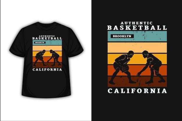 T-shirt design con autentico basket brooklyn california in verde arancione e giallo