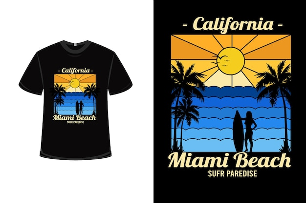 T-shirt design con paradiso del surf california miami beach in sfumatura gialla e sfumatura blu
