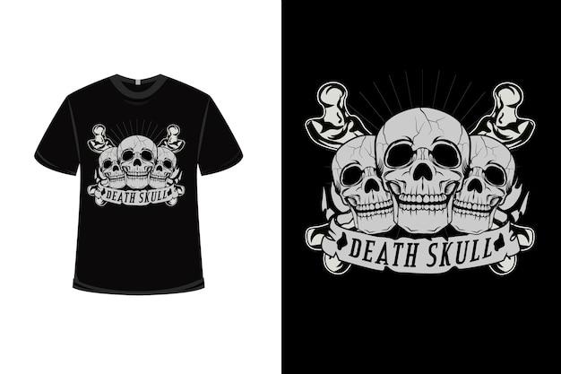 T-shirt design con teschio della morte in grigio