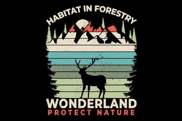 T-shirt design con habitat foresta paese delle meraviglie pino natura in retro