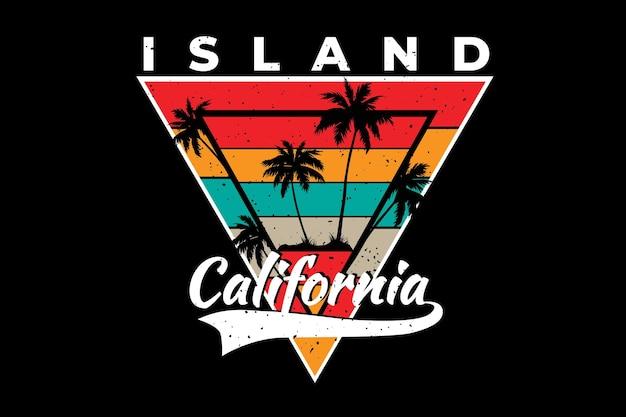 Design t-shirt con palma dell'isola california in stile retrò