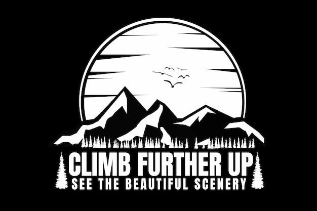 Design t-shirt con silhouette di montagna salita sole pino vintage Vettore Premium