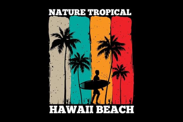 T-shirt design con natura tropicale hawaii spiaggia tramonto in retro
