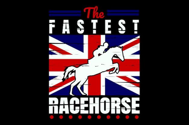 T-shirt design con pennello stile vintage bandiera inglese cavallo da corsa