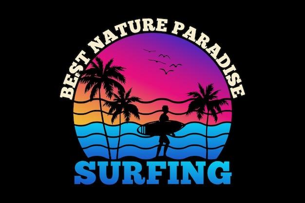 T-shirt design con silhouette surf paradiso della natura surf tramonto estivo in stile retrò retro
