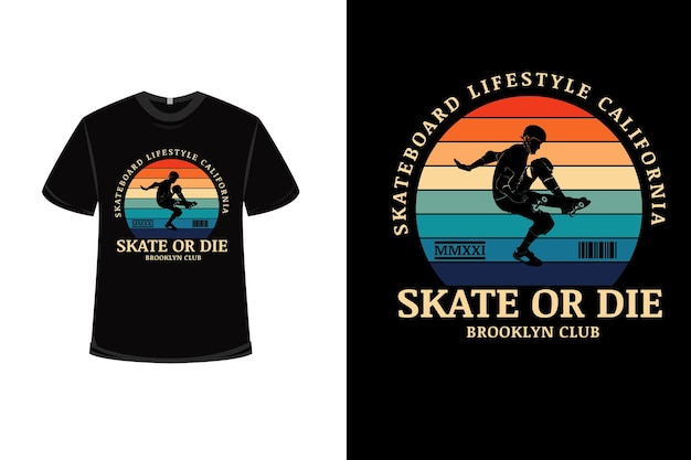 T-shirt design con skateboard lifestyle california in arancione verde e blu