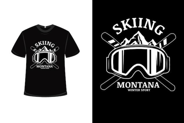 T-shirt design con sci montana sport invernali in bianco