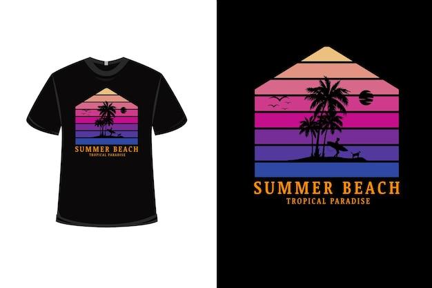 T-shirt design con paradiso tropicale sulla spiaggia estiva in rosa e viola