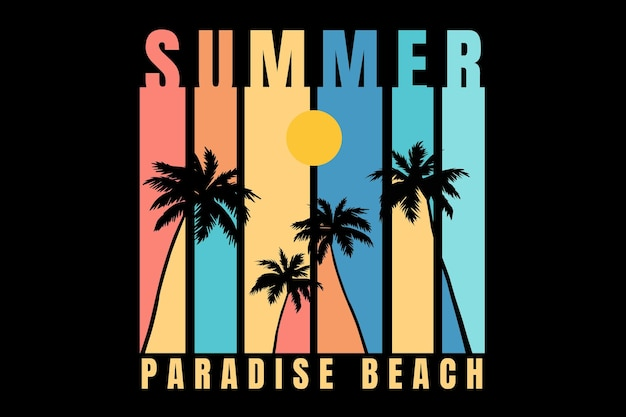 Design t-shirt con spiaggia paradisiaca estiva in stile vintage retrò