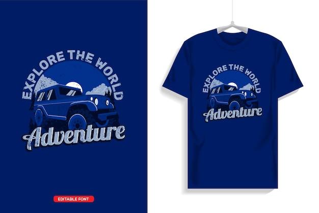 Design della maglietta con illustrazioni di camion quando si è fuori strada