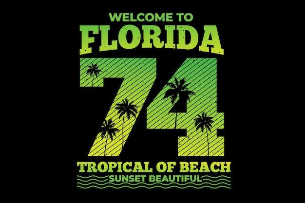T-shirt design con tipografia florida sfumatura spiaggia tropicale tramonto vintage
