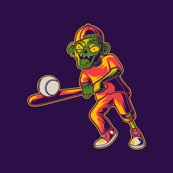 T-shirt design zombie che colpisce l'illustrazione di baseball