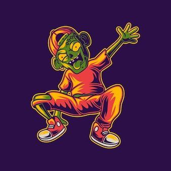 Zombie di disegno della maglietta nell'illustrazione di break dance di posizione del cavallo