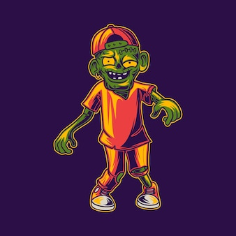 T-shirt design zombie che cammina vista frontale illustrazione design