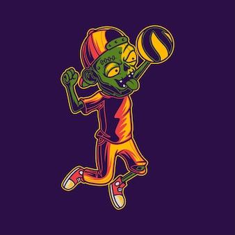 T-shirt design zombie con illustrazione di pallavolo in posizione schiacciata smash