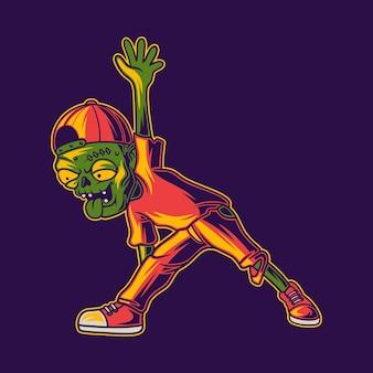 T-shirt design zombie con triangolo posa yoga illustrazione