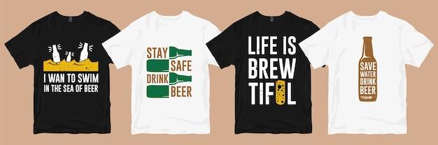 Pacchetto di disegni di t-shirt. gli slogan della maglietta della birra citano la merce