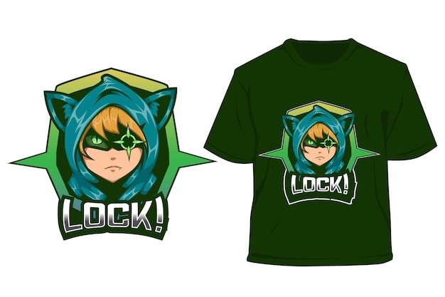 T shirt e sport logo design cat boy