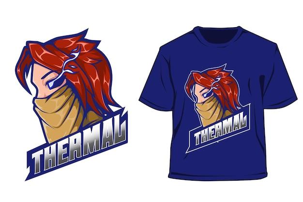 T shirt e sport logo design uomo con maschera
