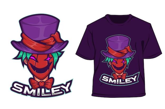 T-shirt e logo sportivo design smiley clown