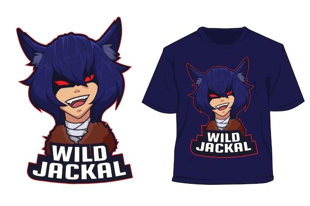 T shirt e sport logo design wolf boy