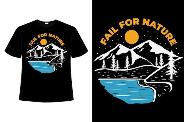 La maglietta fallisce per l'illustrazione dell'annata disegnata a mano del lago di avventura della montagna della natura