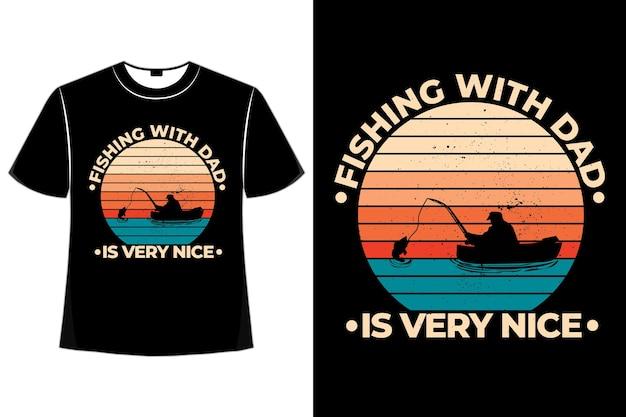 T-shirt in stile retrò barca da pesca