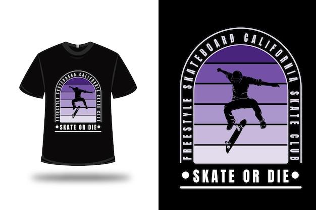 T-shirt freestyle skateboard california colore viola sfumato