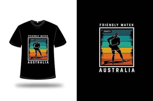 T-shirt partita amichevole footy australia colore arancio giallo e verde