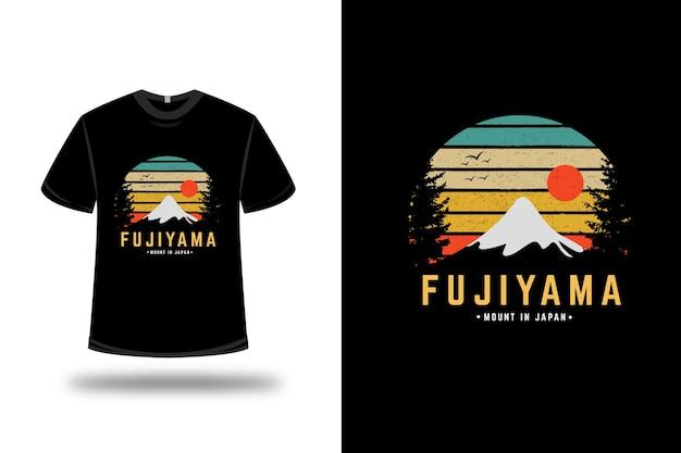 T-shirt fujiyama mount giappone colore verde giallo e arancio