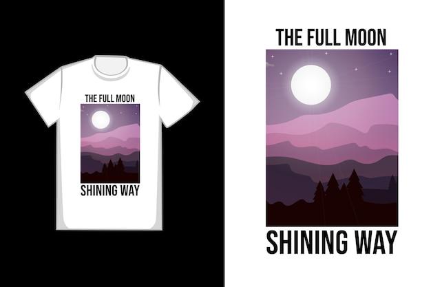 T-shirt con la luna piena che splende
