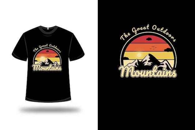 T-shirt great outdoors mountains colore arancio e giallo